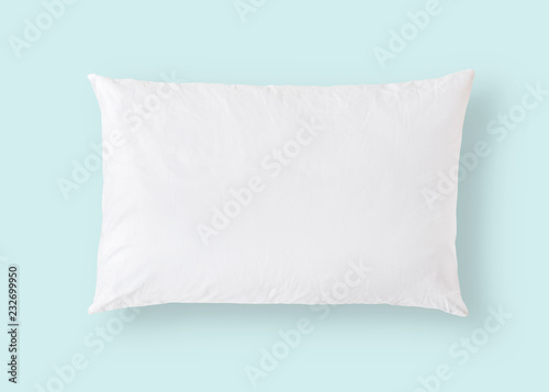 Leinwanddruck Bild White pillow on blue background isolated with clipping path for bedding mockup design template
