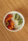 Flat lay noodles and vegetables - 232711144