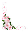 Pink rose flowers and satin ribbons in a floral corner arrangement