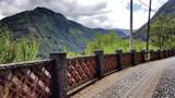 Cobblestone road along mountain near Banos, Ecuador. - 232719924