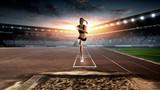 Athlete before jump. Mixed media - 232725964