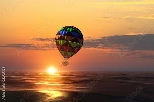 Foto Murales Air balloon over water. Mixed media