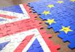 Brexit United Kingdom European Union Puzzle Pieces. United Kingdom leaving the European Union represented in puzzle pieces.