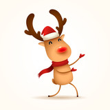 The red-nosed reindeer greets. Isolated. - 232735953