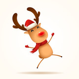 The red-nosed reindeer jumps. Isolated. - 232735962