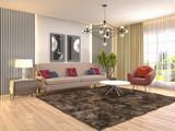 Interior of the living room. 3D illustration - 232742108