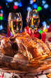 Baked or roasted whole chicken on Christmas table - 232750139