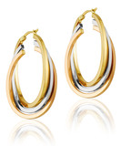 fashion women's earrings in gold. A precious gift for a woman.