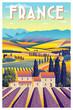 Rural landscape in summer day in Provence, France. Handmade drawing vector illustration. Vintage style poster.