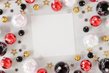 Christmas card mockup with red baubles 3D rendering - 232770992