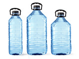 set of plastic water bottles isolated