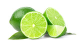 Limes with slices and leaves isolated o