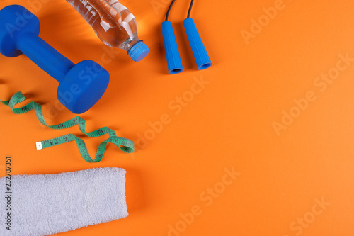 Leinwanddruck Bild Fitness accessories, healthy and sport life concept.