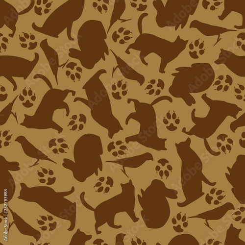 fototapeta na ścianę Seamless pattern of pets. Design for textiles, paper, food for animals.