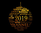 2019 new year multilingual text word cloud  in the shape of a christmas ball - 232796930