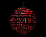 2019 new year multilingual text word cloud  in the shape of a christmas ball - 232796960