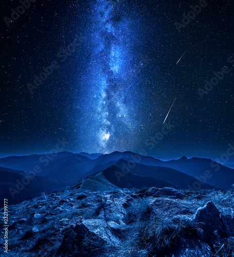 Stunning milky way over Tatra mountains at night, Poland