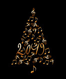 2019 christmas tree with golden metal musical notes isolated on black background - 232800762