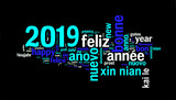 2019 greeting card on black background, new year translated in many languages - 232800793