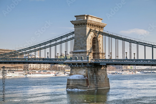 Fridge magnet Lanchid or Chain bridge in Budapest at winter