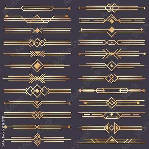 Art deco divider. Gold retro arts border, 1920s decorative ornaments and golden dividers borders vector design set