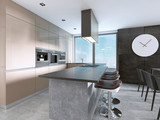Contemporary kitchen with large windows and island with bar stools. - 232810505