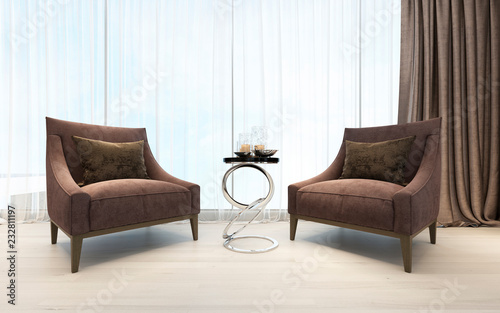 Relax zone with two armchairs in a luxurious bedroom. - 232811197