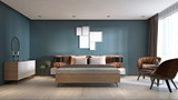 Contemporary bedroom with dark blue walls and light furniture and two brown chairs. - 232811766