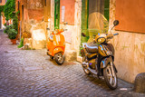 old town italian street with bykes in Trastevere, Rome, Italy, retro toned