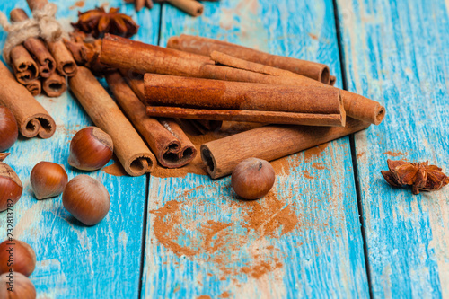Cinnamon on wooden board.