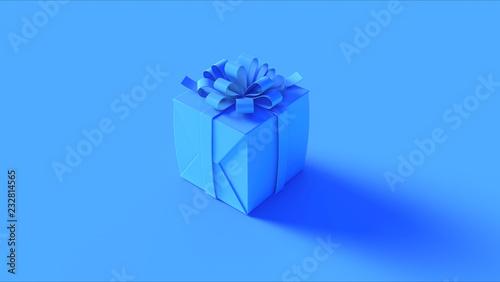 Błękit Zawijający Teraźniejszy prezent z łęku 3d ilustraci 3d renderingiem