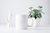 white mug mockup in a styled setting with a white background - 232828159