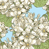 Seamless pattern of spring violets sketches - 232828769