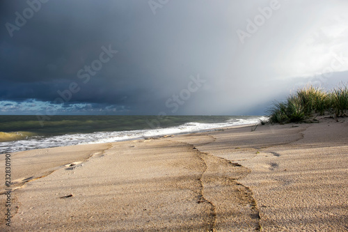 Foto Murales view of baltic sea and thunder sky