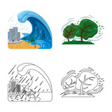 Vector design of natural and disaster logo. Set of natural and risk stock symbol for web. - 232831966