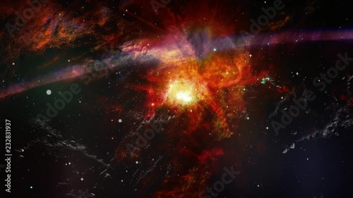 Parallax animation of movement dust clouds and stars. Space background with nebula and stars and flash lens flare for use with projects on science. The elements of this image furnished by NASA.