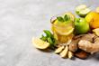 Leinwanddruck Bild - ginger detox and diet drink with lemon and apple