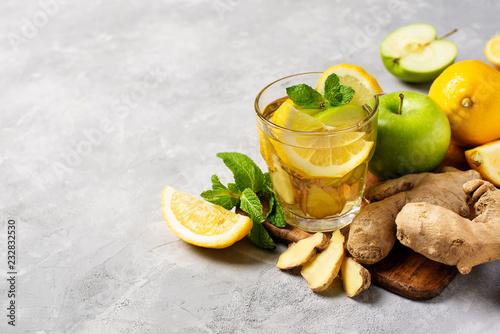 Leinwanddruck Bild ginger detox and diet drink with lemon and apple