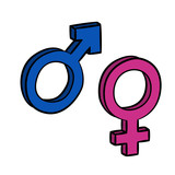 Sign of gender difference. Man and woman. vector 3d - 232841320