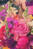 Natural macro background of fresh arranged flowers, retro toned © neirfy