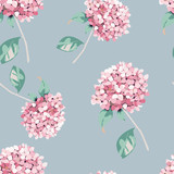 Floralr seamless pattern. Vintage print with hortensia flowers.Vector illustration - 232844903