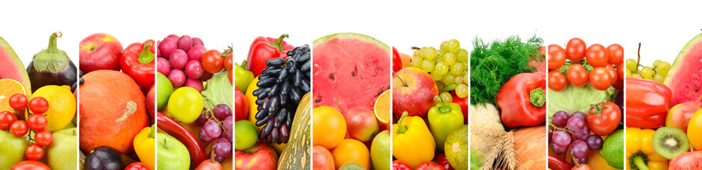 Collection fresh fruits and vegetables isolated on white background. Panoramic collage. © alinamd