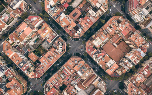 obraz PCV Typical quarters in center of Barcelona. Aerial view
