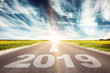 Leinwandbild Motiv Vorwärts ins neue Jahr 2019!