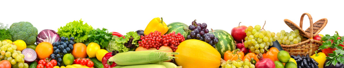 Collage and ripe fruits and vegetables isolated on white background.