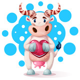 Cute, funny, pretty cow characters with heart. Vector eps 10 - 232870780