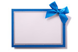 Greetings card blue bow decoration isolated white - 232871955