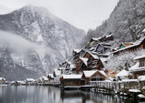 Hallstat village in the Austria. Beautiful village in the mountain valley near lake. Natural winter landsape in Austria - 232875909