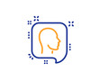 Head line icon. Human profile speech bubble sign. Facial identification symbol. Colorful outline concept. Blue and orange thin line color icon. Head Vector
