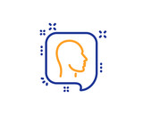 Head line icon. Human profile speech bubble sign. Facial identification symbol. Colorful outline concept. Blue and orange thin line color icon. Head Vector - 232881744